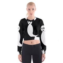 Ghost Women s Cropped Sweatshirt by Valentinaart