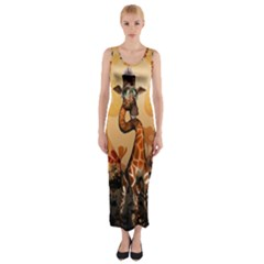Funny, Cute Giraffe With Sunglasses And Flowers Fitted Maxi Dress by FantasyWorld7