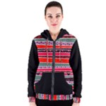 Red African Pattern Mix Women s Zipper Hoodie