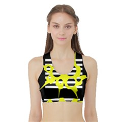 Yellow Abstraction Sports Bra With Border by Valentinaart