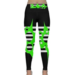 Green Abstract Design Yoga Leggings  by Valentinaart