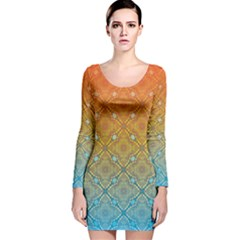 Ombre Fire And Water Pattern Long Sleeve Velvet Bodycon Dress by TanyaDraws