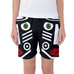African Mask Women s Basketball Shorts by Valentinaart