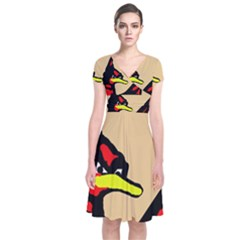 Angry Bird Short Sleeve Front Wrap Dress by Valentinaart