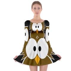 Brown Simple Owl Long Sleeve Skater Dress by Valentinaart