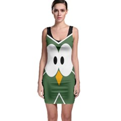 Green Owl Sleeveless Bodycon Dress by Valentinaart