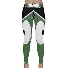 Green Owl Yoga Leggings  by Valentinaart