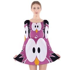Pink Owl Long Sleeve Velvet Skater Dress by Valentinaart
