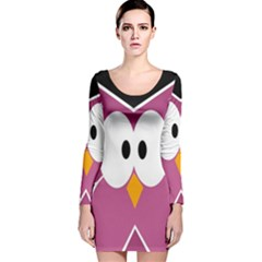 Pink Owl Long Sleeve Velvet Bodycon Dress by Valentinaart