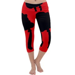 Red And Black Abstraction Capri Yoga Leggings by Valentinaart