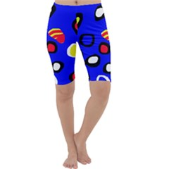 Blue Pattern Abstraction Cropped Leggings  by Valentinaart