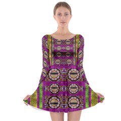 Rainbow Love For The Nature And Sunset In Calm And Steady State Long Sleeve Skater Dress