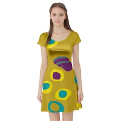 Yellow Abstraction Short Sleeve Skater Dress by Valentinaart