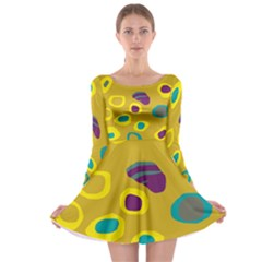 Yellow Abstraction Long Sleeve Skater Dress by Valentinaart