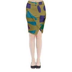 Colorful Abstraction Midi Wrap Pencil Skirt by Valentinaart