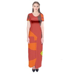 Red Abstraction Short Sleeve Maxi Dress by Valentinaart