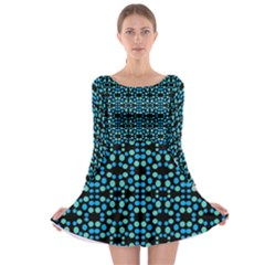Dots Pattern Turquoise Blue Long Sleeve Skater Dress by BrightVibesDesign