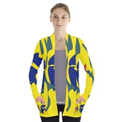 Yellow Amoeba Abstraction Women s Open Front Pockets Cardigan(p194) by Valentinaart