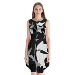 Black And White Amoeba Abstraction Sleeveless Chiffon Dress   by Valentinaart