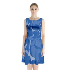 Blue Amoeba Abstraction Sleeveless Waist Tie Dress by Valentinaart