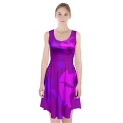 Purple, Pink And Magenta Amoeba Abstraction Racerback Midi Dress by Valentinaart