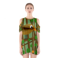 Brown Bird Cutout Shoulder Dress by Valentinaart