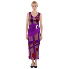 Sweet Purple Bird Fitted Maxi Dress by Valentinaart