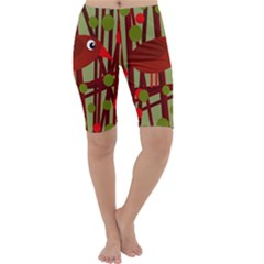 Red Cute Bird Cropped Leggings  by Valentinaart