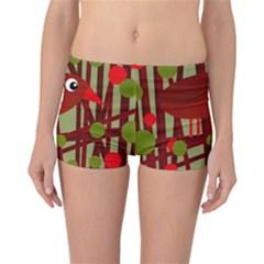 Red Cute Bird Reversible Boyleg Bikini Bottoms by Valentinaart
