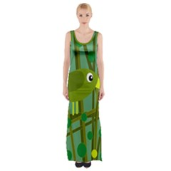 Cute Green Bird Maxi Thigh Split Dress by Valentinaart