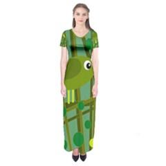 Cute Green Bird Short Sleeve Maxi Dress by Valentinaart