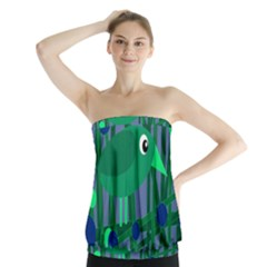 Green And Blue Bird Strapless Top by Valentinaart