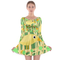 Yellow Little Bird Long Sleeve Skater Dress by Valentinaart