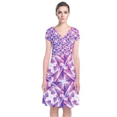 Purple Shatter Geometric Pattern Short Sleeve Front Wrap Dress by TanyaDraws