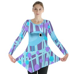 Blue And Purple Bird Long Sleeve Tunic  by Valentinaart