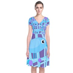 Blue And Purple Bird Short Sleeve Front Wrap Dress by Valentinaart