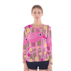 Pink Bird Women s Long Sleeve Tee by Valentinaart