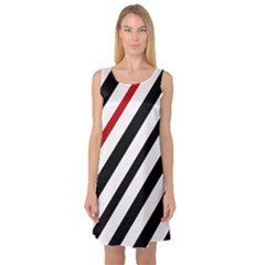 Red, Black And White Lines Sleeveless Satin Nightdress by Valentinaart