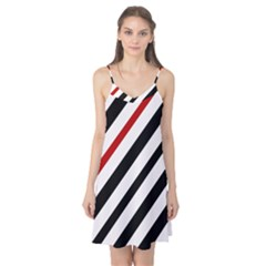 Red, Black And White Lines Camis Nightgown by Valentinaart