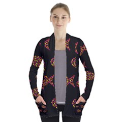 Orange Fishes Pattern Women s Open Front Pockets Cardigan(p194) by Valentinaart