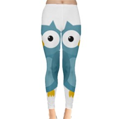 Cute Blue Owl Leggings  by Valentinaart
