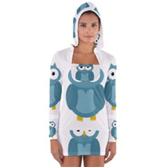 Cute Blue Owl Women s Long Sleeve Hooded T Shirt by Valentinaart
