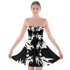 Black And White Pattern Strapless Dresses by Valentinaart