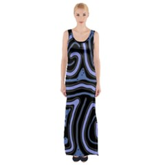 Blue Abstract Design Maxi Thigh Split Dress by Valentinaart