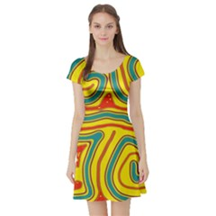 Colorful Decorative Lines Short Sleeve Skater Dress by Valentinaart