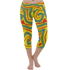 Colorful Decorative Lines Capri Yoga Leggings by Valentinaart