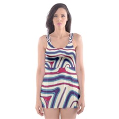 Blue And Red Lines Skater Dress Swimsuit by Valentinaart