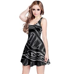 Black And White Decorative Design Reversible Sleeveless Dress by Valentinaart