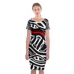 Red, Black And White Abstract Art Classic Short Sleeve Midi Dress by Valentinaart