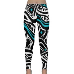 Blue, Black And White Abstract Art Yoga Leggings  by Valentinaart